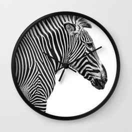Zebra Photography | Animal Minimalism | Wildlife Art | Black and White Wall Clock