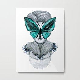 Green Butterfly Drawing Metal Print