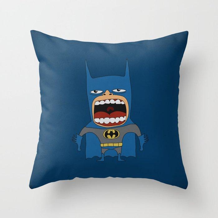 Screaming Batdude Throw Pillow
