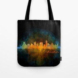 Austin Texas, City Skyline, watercolor  Cityscape Hq v4 Dark Tote Bag