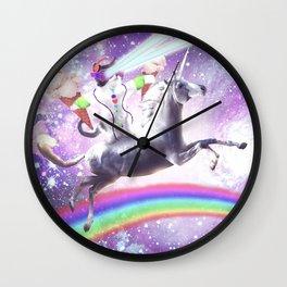 Lazer Rave Space Cat Riding Unicorn With Ice Cream Wall Clock