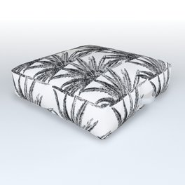 Abstract Palm Leaves in black and white Outdoor Floor Cushion
