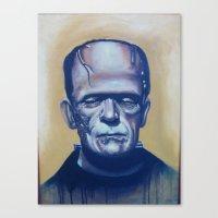 frankenstein Canvas Prints featuring frankenstein by FlacoGarcia