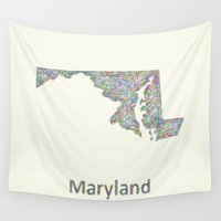maryland Wall Tapestries featuring Maryland map by David Zydd