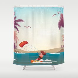 Kite surfer Woman Theme Shower Curtain