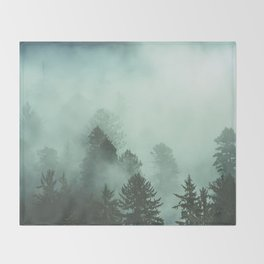 Magnificent Morning - Foggy Redwood Forest Nature Photography Throw Blanket