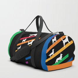 Cosmic Rainbow Dogs - Stripes and Silhouettes Duffle Bag