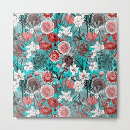 Vintage & Shabby Chic - Rose Blush & Teal Garden Flowers Metal Print