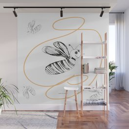 Crazy Bee drawing illustration for kids Wall Mural