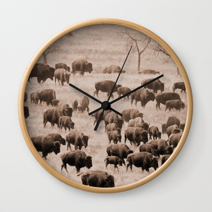 Buffalo Herd in Sepia Wall Clock