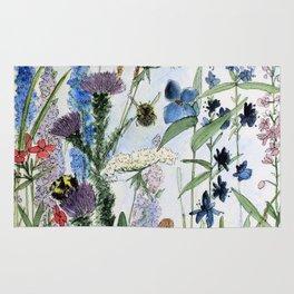 Wildflower in Garden Watercolor Flower Illustration Painting Rug