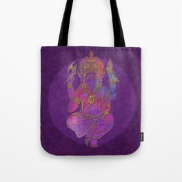 Ganesha hindu god watercolor gold purple art Tote Bag