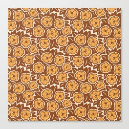 Flower Bouquet Pattern Brown and Yellow Ochre Canvas Print