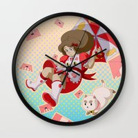 bee and puppycat Wall Clocks featuring Bee and Puppycat by Artist Meli