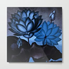 Deep Blue Sacred Egyptian Bean: Temple of Flora Metal Print