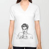 garfield V-neck T-shirts featuring Andrew Garfield by Sharin Yofitasari