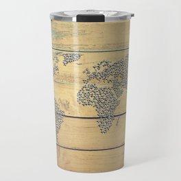 Metallic Foil Map on Oak Travel Mug