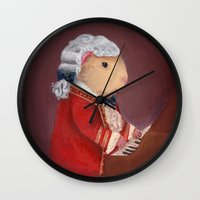 guinea pig Wall Clocks featuring Guinea Pig Mozart by When Guinea Pigs Fly