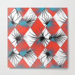Harlequin rhombuses with palm leaves Metal Print