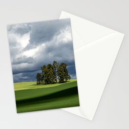 Tree Group in Green Field Stationery Cards
