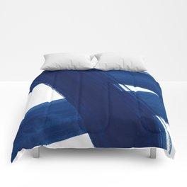 Indigo Abstract Brush Strokes   No. 4 Comforters