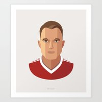 phil jones Art Prints featuring Phil Jones MUFC Flat Illustration by uniteeds
