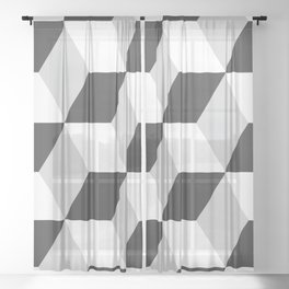Cubism Black and White Sheer Curtain