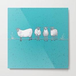 Happy White Sheep Tossed Print Aqua - Susanne Johnson Art Metal Print