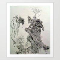 Perception of a starkly raven. Art Print