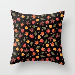 Autumn Leaves Pattern Black Background Throw Pillow