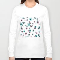 pugs Long Sleeve T-shirts featuring Fizzy Pugs by Pets & Threads