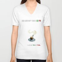 coffe V-neck T-shirts featuring Paragliding: take a coffe! I love thermal by Blinding Room Art