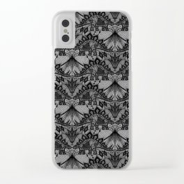 Stegosaurus Lace - Black / Grey - Clear iPhone Case