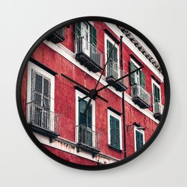 Red Background 03 Wall Clock