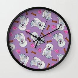 Bichon Frise Love Pattern on Lavender Wall Clock