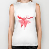 moose Biker Tanks featuring Moose  by polona hocevar skofic
