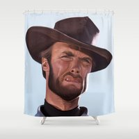 clint eastwood Shower Curtains featuring Clint by Mark Hammermeister