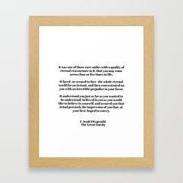 Fitzgerald quote Framed Art Print