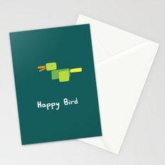 Happy Bird-Green Stationery Cards