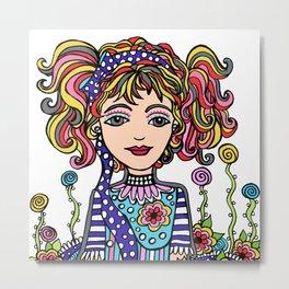Style Girl - Dusty - Doodle Art Metal Print