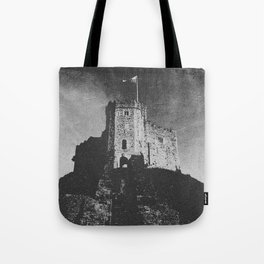 Cardiff Castle Keep Black and White-Wales Tote Bag