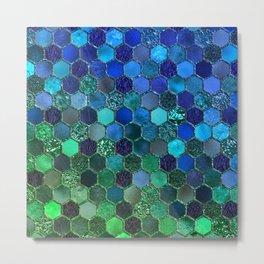 Blue & green geometric hexagonal elegant & luxury pattern Metal Print