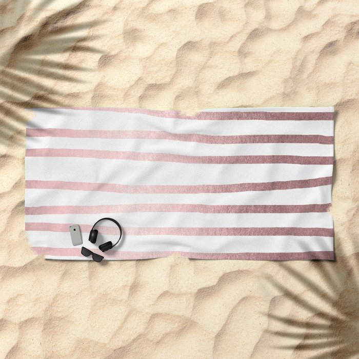 Simply Drawn Stripes Rose Quartz Elegance Beach Towel