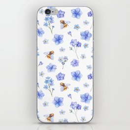 Elegant lavender brown watercolor honey bee floral iPhone Skin