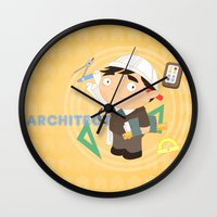 architect Wall Clocks featuring Architect by Alapapaju