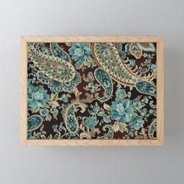 Brown Turquoise Paisley Framed Mini Art Print