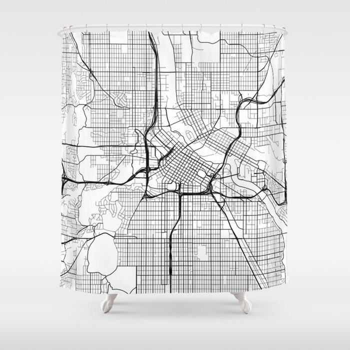 Minneapolis Map, USA - Black and White Shower Curtain by mainstreetmaps