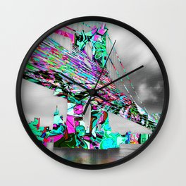 New York City Manhattan Bridge Pure Pop Green Wall Clock