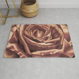 Rose Flower Art Print, pasel drawing, Tea Stain Rug