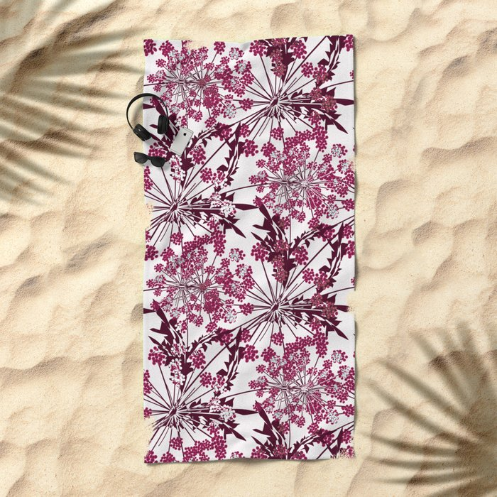 Laced crimson flowers on a white background. Beach Towel
